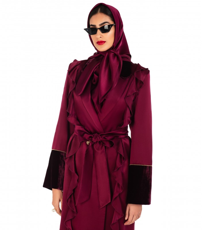 Silk Abaya Coat with Velvet Trim