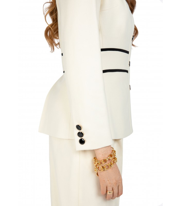 Ivory White Jacket with Black Trim
