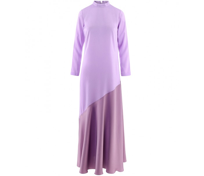 Two-Tone Long Sleeves Bias Cut Dress