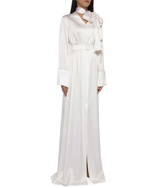 Belted Satin Gown