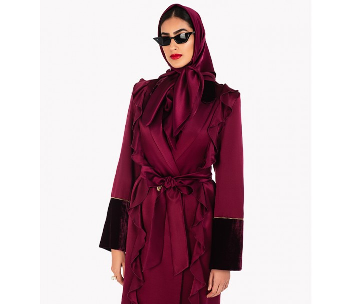Silk Abaya Dress with Velvet Trim