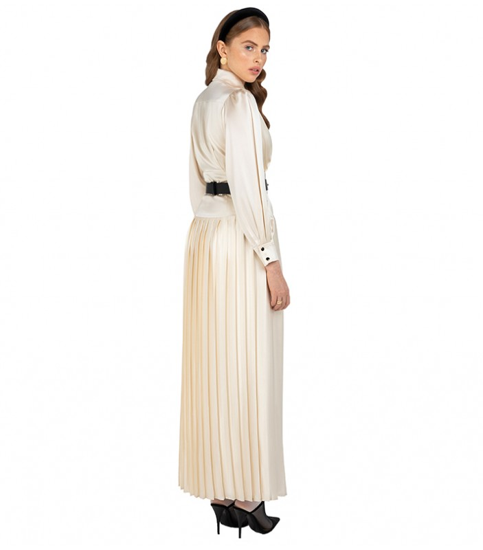 Ivory Pleated Maxi Dress