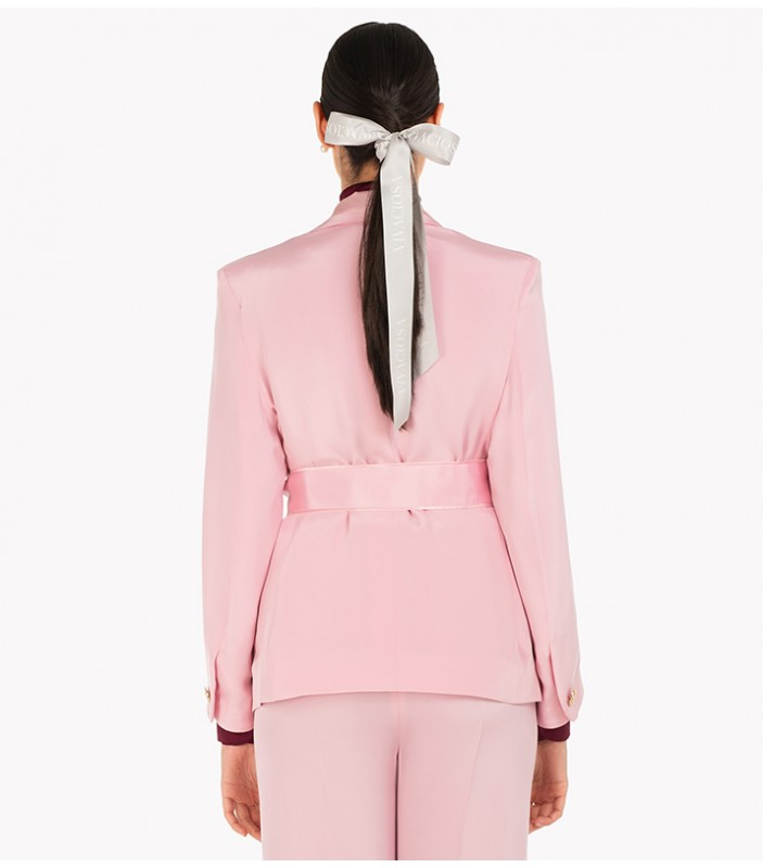 Pink Double-Breasted Silk Jacket