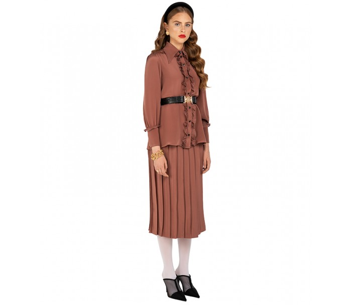 Brown Crepe Pleated Skirt