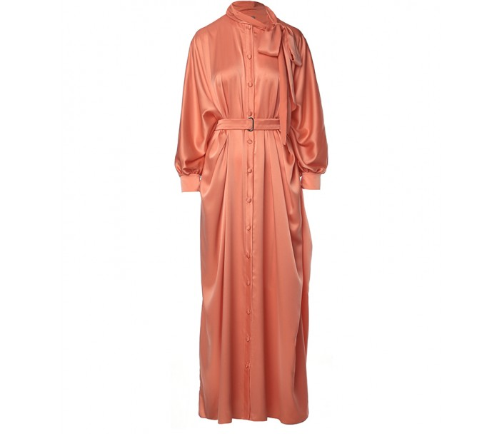 Orange Neck-Tie Batwing Kaftan
