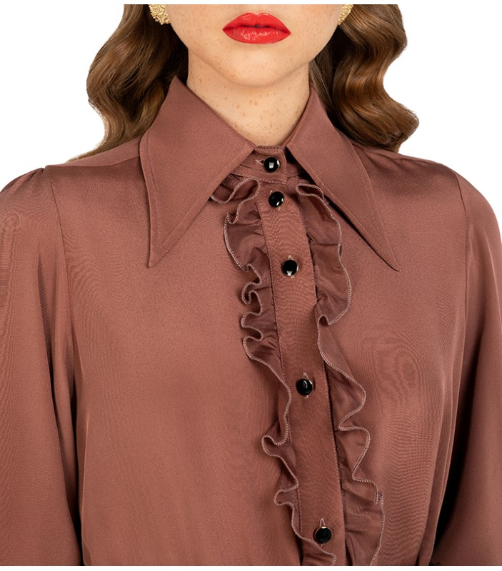 Pointed Collar Shirt with Ruffles