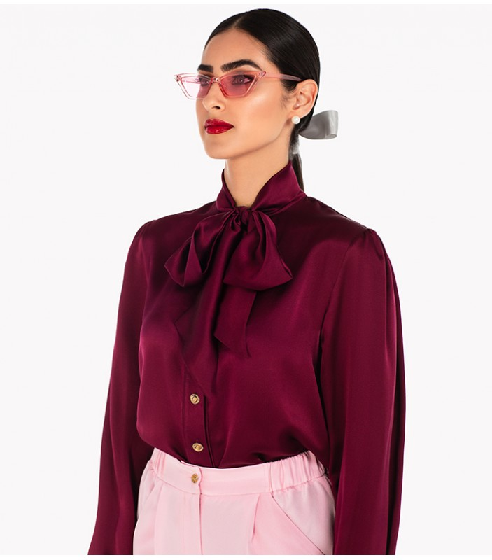 Self-Tie Neck Bow Silk Shirt