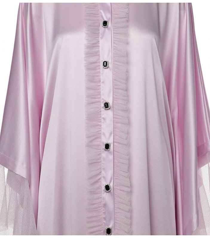 Kaftan With Tulle & Crystal Buttons